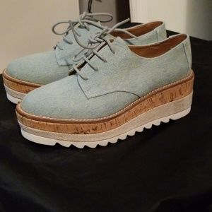 Jane and the shoe platform canvas oxford shoes